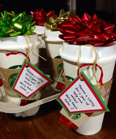 Thanks a LATTE!! Fun and inexpensive gift! Starbucks reusable cups filled with candy.. added $5 cup shaped gift card and tag that said 'Thanks a LATTE!' Great Christmas or thank you gift for teachers, coworkers, neighbors, doctor.. the list is endless!