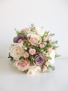 Vintage blush lavender colors, but replace the mauve roses with cream or light coral roses