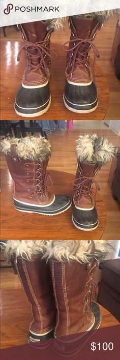 Sorel Joan of Arc Leather Snow Boots Women's Joan of Arc Sorel leather boots.  Gently worn, removable faux fur inserts, size 10.  Great winter boots! Sorel Shoes Winter & Rain Boots