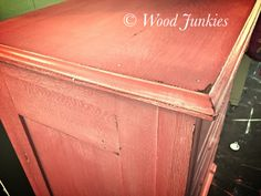 Dresser painting in a custom coral mix using Annie Sloan Chalk Paint® Barcelona, Emperors Silk and Old White with a white wash and clear wax. https://www.facebook.com/woodjunkies/