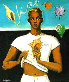 金子國義 浜辺にて 油彩・キャンバス 1988
