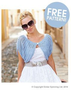 """Free knitting pattern for Easy Lacy Shrug in Adult and Child sizes. Knit in two pieces with arrowhead lace and seamed. Chest 24-46"""" (61-117cm), child to adult. More easy shrug knitting patterns at http://intheloopknitting.com/easy-shrug-knitting-patterns/ tba affiliate link"""