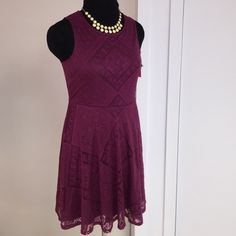 Pretty Skater Dress NWT Mini bold Lace Skater Dress. Flared fit skirt pop-over w/back button. 35ins long. True sz M. Very cut!!! Xhilaration Dresses Mini