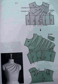 Chinese method of pattern making- Darts on a bodice - SSvetLanaV - Picasa Web Albums Inspiration for me to use when I'm exploring flat pattern drafting. - Schematic drawings of flat pattern drafting for constructing clothing Cool diagram showing how to sl Sewing Hacks, Sewing Tutorials, Sewing Projects, Sewing Ideas, Sewing Diy, Techniques Couture, Sewing Techniques, Pattern Cutting, Pattern Making