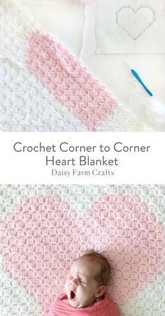 Free Pattern - Crochet Corner to Corner Heart Blanket