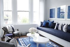 blue & white combo...loft in New York's West Village designed by Pamplemousse Design