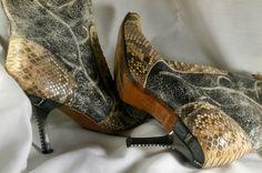 IVORY SNAKE SKIN 100% Leather EXOTIC Diamond Studded Heel Western Boots Sz 7N #JOEBOOTS #CowboyWestern