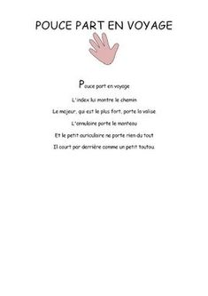 Pouce part en voyage - Comptine maternelle Homework, Carnival, Finger Plays, Songs For Children, Rhymes Songs, Preschool, Words