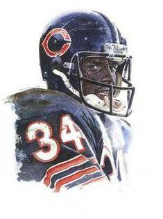 Walter Payton Chicago Bears HOF Portrait Art by AmericanAllStar