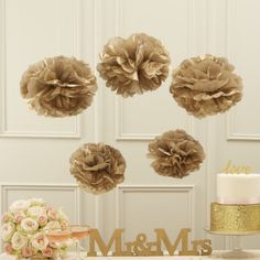 Ginger Ray Metallic Gold Tissue Paper Pom Poms Party & Wedding Decorations - for sale online Wedding Decorations For Sale, Outdoor Wedding Decorations, Decor Wedding, Gold Pom Poms, Organiser Une Baby Shower, Deco Baby Shower, Shower Party, Baby Deco, Wedding Pom Poms