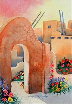 Adobe archway and pueblo style homes in Taos watercolor painting