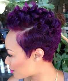 African American Purple Curly Pixie Color Me Beautiful, Short Cuts, Short Hair Styles, Natural Hair Styles, Earrings, Stylists, Beauty, Fashion, Closer
