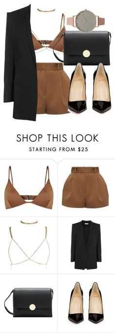 """Untitled #4545"" by olivia-mr ❤ liked on Polyvore featuring Melissa Odabash, Versace, Helmut Lang, MANGO, Christian Louboutin and Olivia Burton"
