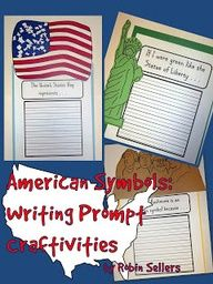 American Symbols {Statue of Liberty, American Flag, Mount Rushmore} Writing Prompt Craftivities pages)--a fun way to add a craft and a writing prompt. Great for simple reports too. 4th Grade Social Studies, Social Studies Activities, Teaching Social Studies, Student Teaching, Writing Activities, Teaching Tools, Teaching Ideas, Teaching History, Teaching Resources