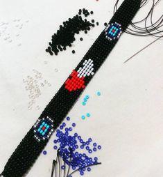 #kalpkalbekarşı#mı acaba... Bead Loom Bracelets, Beaded Bracelet Patterns, Bead Crochet Patterns, Stitch Patterns, Beading Projects, Loom Beading, Creative Crafts, Bead Weaving, Seed Beads