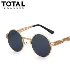 Luxe Metalen Zonnebril Mannen Ronde Sunglass Steampunk Coating Glazen Vintage Retro Outdoor Lentes Oculos van Mannelijke Zon