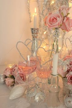 Candles and champagne.They look pretty in pink.Please check out my website thanks. www.photopix.co.nz