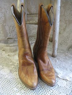 double h mens brown leather cowboy boots 10B by rivertownvintage, $125.00