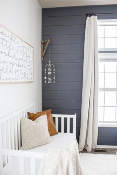 Baby Boy Nursery Shiplap wall Tips on Decorating Your Baby Nursery How Exciting! Baby Bedroom, Baby Boy Rooms, Baby Boy Nurseries, Nursery Room, Kids Bedroom, Accent Wall Nursery, Boy Nursery Colors, Grey Blue Nursery, Boy Nursery Curtains