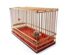 VINTAGE Lovely Bamboo Bird Cage with Wooden Red and Black Color Painted Tray , Old Rattan Bird Cage , Removable , Home Decor , Display