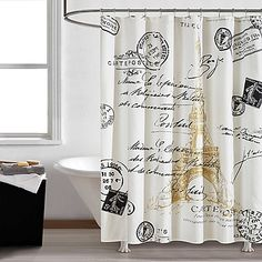 Bring the chic glamour of Paris into your bathroom with this Paris Gold Shower Curtain. The black and white Paris-theme is printed on microfiber with metallic gold print, ready to add on-trend fashion to your bathroom. Paris Theme Bathroom, Gold Bathroom, Small Bathroom, Bathroom Ideas, Bathroom Remodeling, Parisian Bathroom, Bathroom Canvas, Neutral Bathroom, Dream Bathrooms