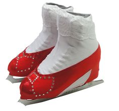 Skating to music from the Wizard of Oz, and want to look like Dorothy? These ruby red slippers skating boot covers will complete your look! The boot covers are made of red metallic fabric, and the bow is red lycra adorned with Swarovski rhinestones. The bows and lace sock are sewn onto the boot covers, ensuring the toe pick doesn't catch on fabric. Sparkle even more by selecting the quantity of rhinestones just right for you.