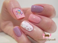 Pink and purple rose manicure