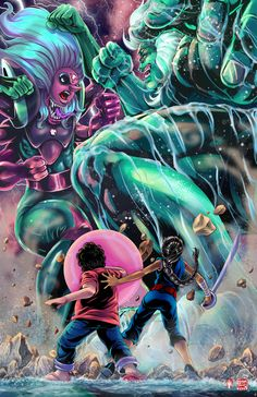 Steven Universe - Fusion Battle by TyrineCarver and Wil Woods So in all likelihood, Malachite's grand return to the stage isn't going to be like this… but how awesome would it be if it was? I mean… Giant Woman kaiju battle amirite?