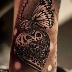 coole Schmetterling Tattoo Ideen Herz Tattoo Schmetterling Tattoo als coole Tattoo Ideen Tattoos Motive, Key Tattoos, Body Art Tattoos, Sleeve Tattoos, Anchor Tattoos, Tatoos, Heart Locket Tattoos, Frame Tattoos, Mini Tattoos