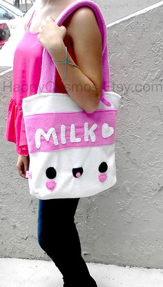 Back to School - Milk Tote Bag - Cute Schoolbag , Kawaii Backpack , Available in Brown, Bookbag on Etsy, $25.00