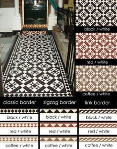 Suppliers of Euthentic Victorian Geometric Encaustic Tiles I love the star pattern in black and white. Hall Tiles, Tiled Hallway, Hallway Flooring, Flooring Tiles, Modern Flooring, Unique Flooring, Timber Flooring, Stone Flooring, Kitchen Flooring