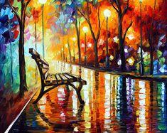 Wand Kunst Landschaft Ölgemälde auf Leinwand von Leonid Afremov - die Einsamkeit des Herbstes