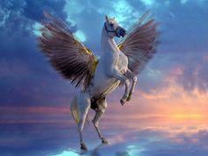 """Dans la mythologie grecque, Pégase (en grec ancien Πήγασος / Pếgasos, en latin Pegasus) est un cheval ailé. Il jaillit avec Chrysaor du sang de la Méduse quand celle-ci se fait trancher la tête par Persée.La belle gorgone avait été violée par Poséidon, puis punie et transformée en horrible Méduse par la jalouse Athéna. Les deux enfants sont restés en elle avant d'être """"libérés""""."""