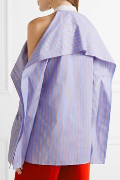 Rosetta Getty - Cold-shoulder Striped Cotton-poplin Blouse - Blue - US