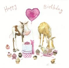Pony Cupcakes Birthday Card | Stickybud Cards Horse Pony And Country Greeting Cards,Horse Birthday Cards