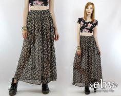 #Vintage #90s #Grunge Black Floral Hippie Maxi #Skirt, fits S/M by shopEBV, $42.00