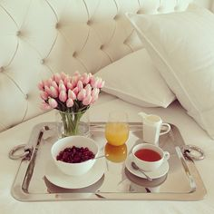 Breakfast in Bed, Home Decor, serving tray, tulips www.abodeaustralia.com