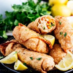 A classic favorite, lemon chicken, in egg roll form. So much better than take-out.