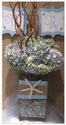 Use my clear rocks in vases.  Beach Themed Bridal Shower @Kimberly Peterson Peterson Erickson - this is super cute!