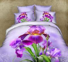 Purple Iris Floral Queen Duvet Cover Set & Pillowcases