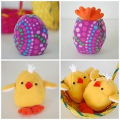 I couldn't resist! Chick & egg reversible toy for Easter. Click the profile link to get your pattern. #Easter #handmadeeaster #sewing #softie