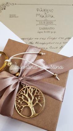 Χειροποίητες μπομπονιέρες γάμου μεταλλικό δέντρο της ζωής μπρελόκ με κουτί κραφτ by valentina-christina handmade products 2105157506