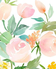 Rose Bouquet in Peach Watercolor Art Print by YaoChengDesign