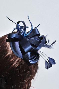 Women's Tea Party Hat Navy Blue Fascinator Navy by QueenSugarBee