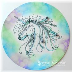 I bought this Pink Ink Designs Unicorn or Horse stamp yesterday and couldn't resist having a quick play before getting on with the housewor. Ink Painting, Fabric Painting, Unicorn Birthday Cards, Unicorn Cards, Lavinia Stamps, Fabric Toys, Art Impressions, Ink Stamps, Embroidery Hoop Art