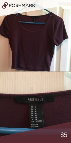 Burgundy Crop Top Very cute! Worn a couple times! Needs a new home. Perfect condition! Forever 21 Tops Crop Tops