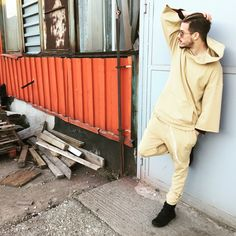 #rattan medium weight cotton Pullover Hoody x Essential Joggers #onstock  www.thegentlemensclo.com Hoody, Pullover, Rattan, Joggers, Beige, Fresh, Medium, Wicker, Taupe