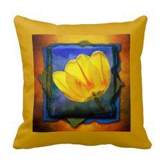 "Yellow tulip on yellow, orange, and blue decorator pillow.  16""x16"" , 20""x20"", 13""x21"".  http://www.zazzle.com/littlethingsdesigns?rf=238200194340614103"