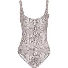 Norma Kamali Snake-print swimsuit ($190) ❤ liked on Polyvore featuring swimwear, one-piece swimsuits, intimates, animal print, snake print swimsuit, swimming costume, grey swimsuit, low cut one piece swimsuit and animal print one piece swimsuit