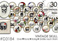 Cabochon+Vorlagen+Cabochonbilder+VINTAGE+SKULL+von+Planet+Mallika+auf+DaWanda.com